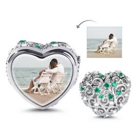Heart shaped Hollow Photo Charm Sterling Silver