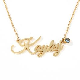 """Jeulia """"Love Yourself"""" Personalized Sterling Silver Name Necklace with Birthstone"""