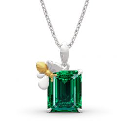 """Jeulia """"Honey Bee"""" Emerald Cut Sterling Silver Necklace"""