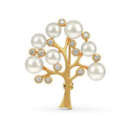 """Jeulia """"Tree of Life"""" Cultured Pearl Sterling Silver Brooch"""