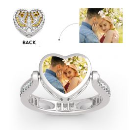 """Jeulia """"Keep Me In Your Heart"""" Tulip Sterling Silver Personalized Photo Ring (With A Free Chain)"""