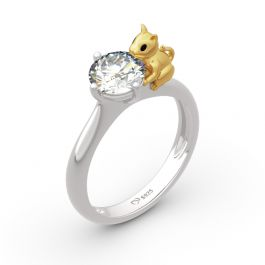 """Jeulia Hug Me """"Play with Me"""" Cat Round Cut Sterling Silver Ring"""