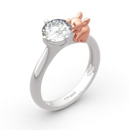 """Jeulia Hug Me """"Lucky Elephant"""" Round Cut Sterling Silver Ring"""