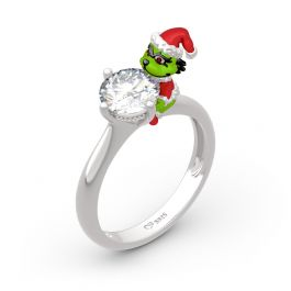 """Jeulia Hug Me """"Welcome Christmas"""" Round Cut Sterling Silver Ring"""