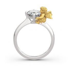 """Jeulia Hug Me """"Angel's Love"""" Round Cut Sterling Silver Ring"""