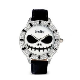 """Jeulia """"King of Halloween Town"""" Skull Design Quartz Black Leather Watch with Mother-of-Pearl Dial"""