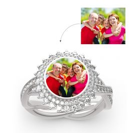 """Jeulia """"Timeless Romance"""" Sterling Silver Personalized Photo Ring"""