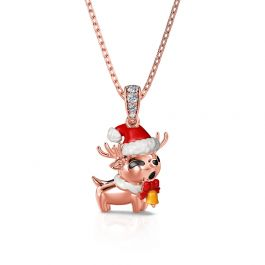 """Jeulia """"Cute Christmas Reindeer"""" Sterling Silver Necklace"""