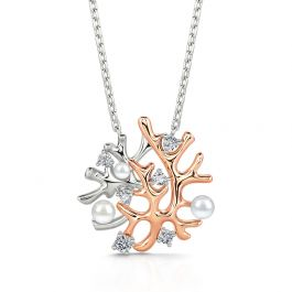 """Jeulia """"Coral Reefs"""" Cultured Pearl Sterling Silver Necklace"""