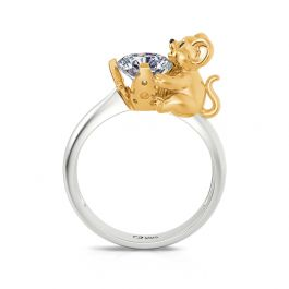 """Jeulia Hug Me """"Who Moved My Cheese"""" Mouse Round Cut Sterling Silver Ring"""