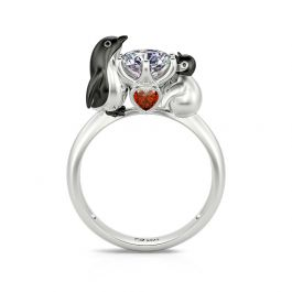 """Jeulia Hug Me """"Play with My Baby"""" Penguin Round Cut Sterling Silver Ring"""