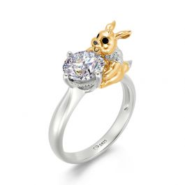 """Jeulia Hug Me """"Fast Runner"""" Hare Round Cut Sterling Silver Ring"""