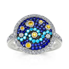 """Jeulia """"Pure Night"""" The Starry Night Inspired Sterling Silver Ring"""