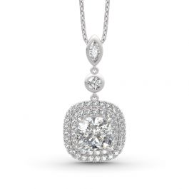 Jeulia Double Halo Cushion Cut Sterling Silver Necklace