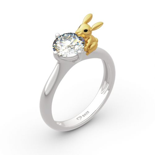 """Jeulia """"Nature's Favor"""" Rabbit Round Cut Sterling Silver Ring"""