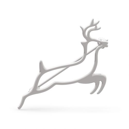 "Jeulia ""Protect You Forever"" Deer Design Sterling Silver Brooch"