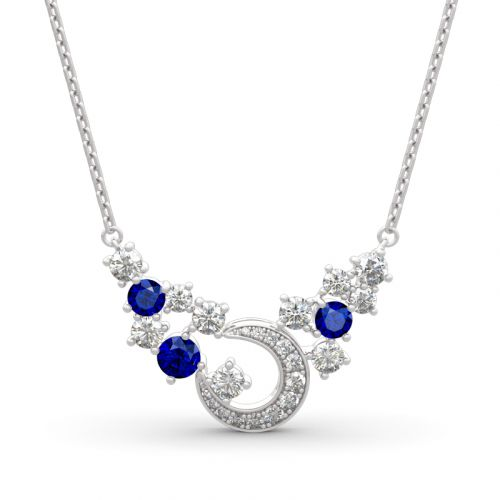"Jeulia ""Light of Starry Sky"" Moon Design Round Cut Sterling Silver Necklace"
