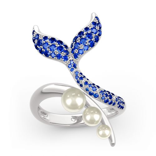 "Jeulia ""Dancing by the Moonlight"" Mermaid Tail Faux Pearl Sterling Silver Ring"