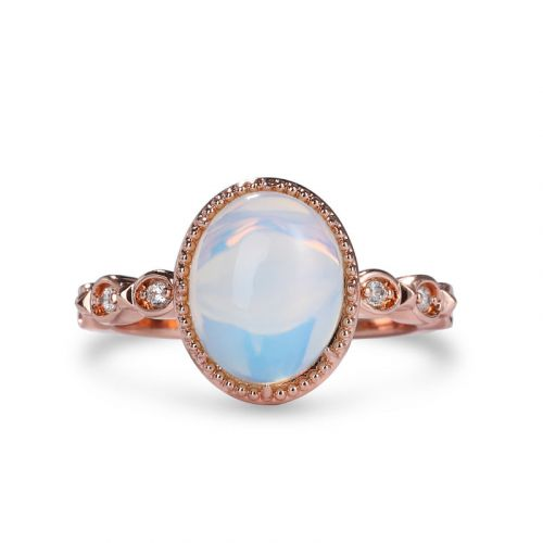 "Jeulia ""Enchanting Moon"" Oval Cut Moonstone Sterling Silver Ring"