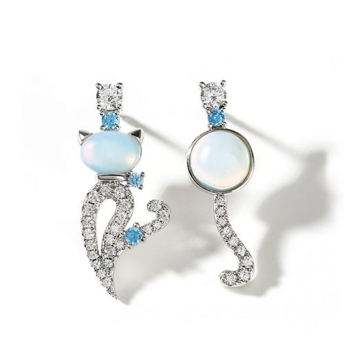 "Jeulia ""Moonlight Magic"" Cat Sterling Silver Asymmetric Moonstone Earrings"