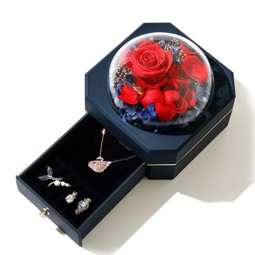 Jeulia Eternal Rose Flower Jewelry Storage Box