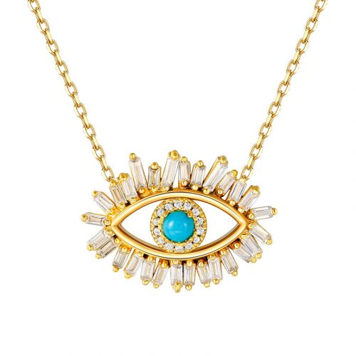 """Jeulia """"Evil Eye"""" Round Cut Turquoise Sterling Silver Necklace"""