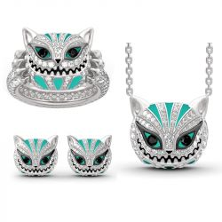 "Jeulia ""Grinning Like a Cheshire Cat"" Sterling Silver Enamel Jewelry Set"