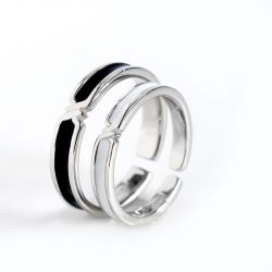 Jeulia Adjustable Chic Sterling Silver Couple Rings