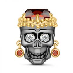 """""""Endless Love"""" Skull With Egypt Style Sterling Silver Charm"""