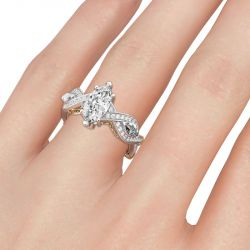 Jeulia Twist Design Marquise Cut Sterling Silver Ring