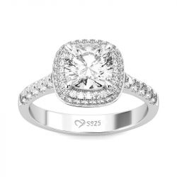 Jeulia Double Halo Cushion Cut Sterling Silver Ring