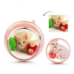 """Cat Playing Yarn Ball""  Photo Charm Sterling Silver"