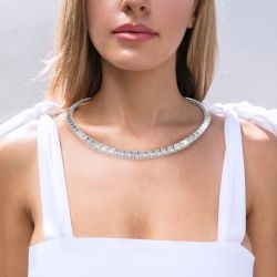 Jeulia Gorgeous Sterling Silver Tennis Necklace