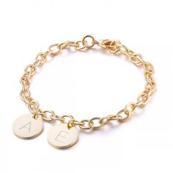 Jeulia Initial Disc Personalized Sterling Silver Bracelet