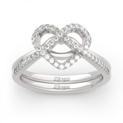 "Jeulia ""Now&Forever"" Twist Heart Sterling Silver Ring Set"
