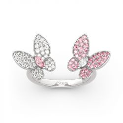 """Jeulia """"Spring is Coming"""" Two Butterfly Sterling Silver Ring"""