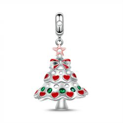 """Happy Christmas"" Christmas Tree Sterling Silver Dangle Charm"