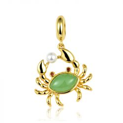 """Bring You Wealth"" Crab Charm  Sterling Silver Pendant"