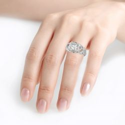Jeulia Vintage Lace Design Cushion Cut Sterling Silver Ring