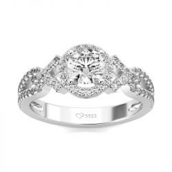 Jeulia Sterling Silver Halo Round Cut Ring