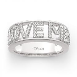 "Jeulia ""I Love Me"" Round Cut Sterling Silver Women's Band"