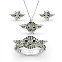 "Jeulia ""Baby Master"" Sterling Silver Jewelry Set"