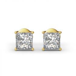 Jeulia Classic Princess Cut Sterling Silver Stud Earrings