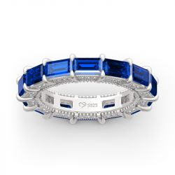 Jeulia Classic Emerald Cut Eternity Sterling Silver Women's Band