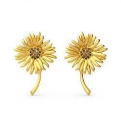 """Jeulia """"Sunflowers"""" Painting Inspired Sterling Silver Stud Earrings"""