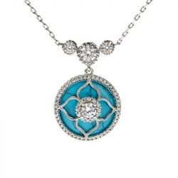 """Jeulia """"Lucky Choice"""" Flower Turquoise Sterling Sliver Necklace"""