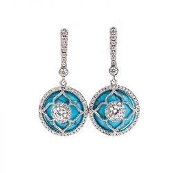 "Jeulia ""Lucky Choice"" Flower Turquoise Sterling Sliver Drop Earrings"