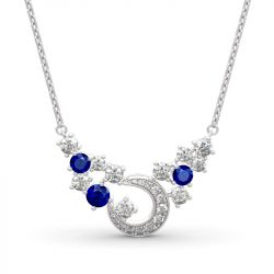 """Jeulia """"Light of Starry Sky"""" Moon Design Round Cut Sterling Silver Necklace"""