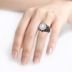 Jeulia Two Tone Halo Round Cut Sterling Silver Skull Ring