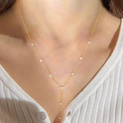 Jeulia Y-shaped Round Cut Sterling Silver Necklace